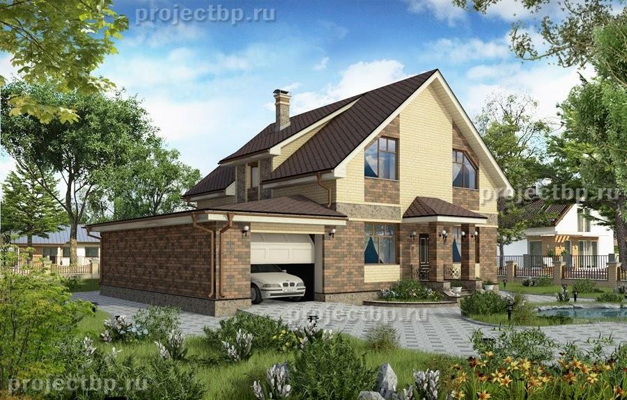 Проект одноэтажного дома с мансардой, верандой и гаражом B-190