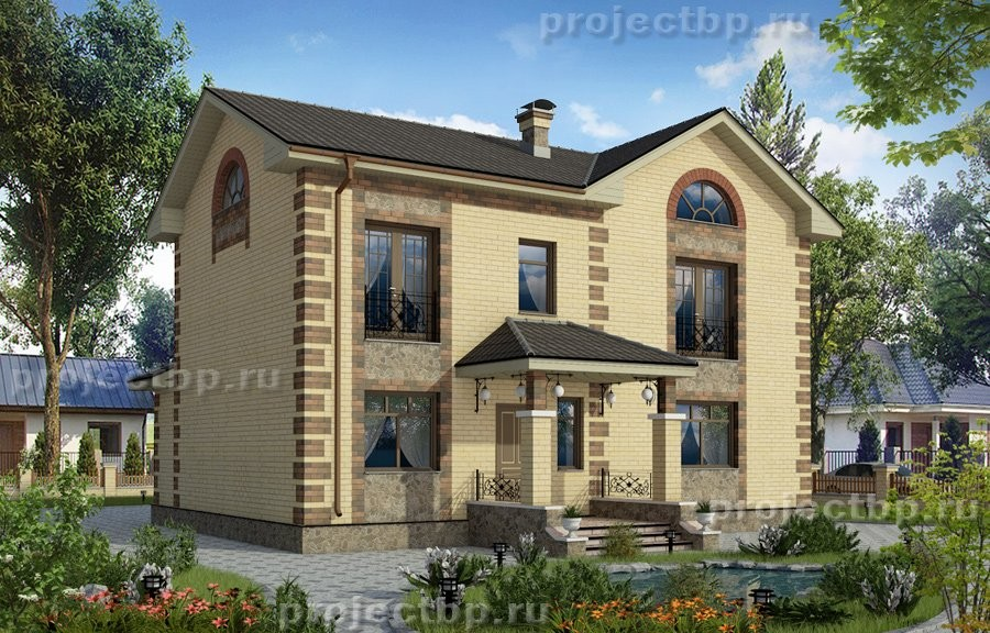 Проект двухэтажного дома в классическом стиле с рустовкой 135-D