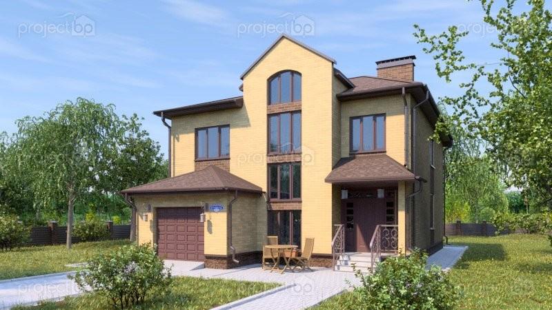 Проект двухэтажного дома со вторым светом в гостиной A-181