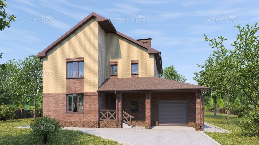 Проект двухэтажного дома с гаражом и колоннами перед домом 191-A