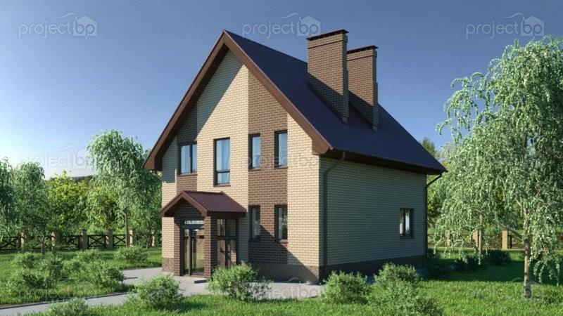 Проект маленького дома из блоков с мансардой A-134