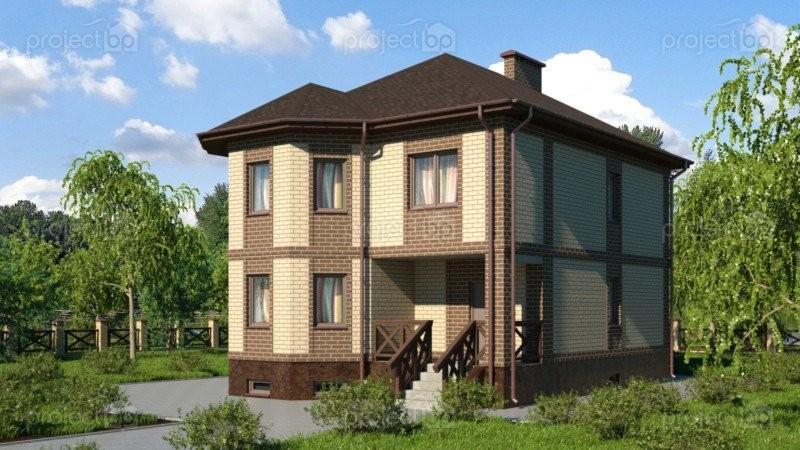 Проект двухэтажного дома с эркером и цокольным этажом C-209