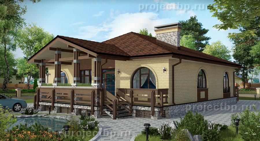 Проект одноэтажного дома с террасой из дерева B-125