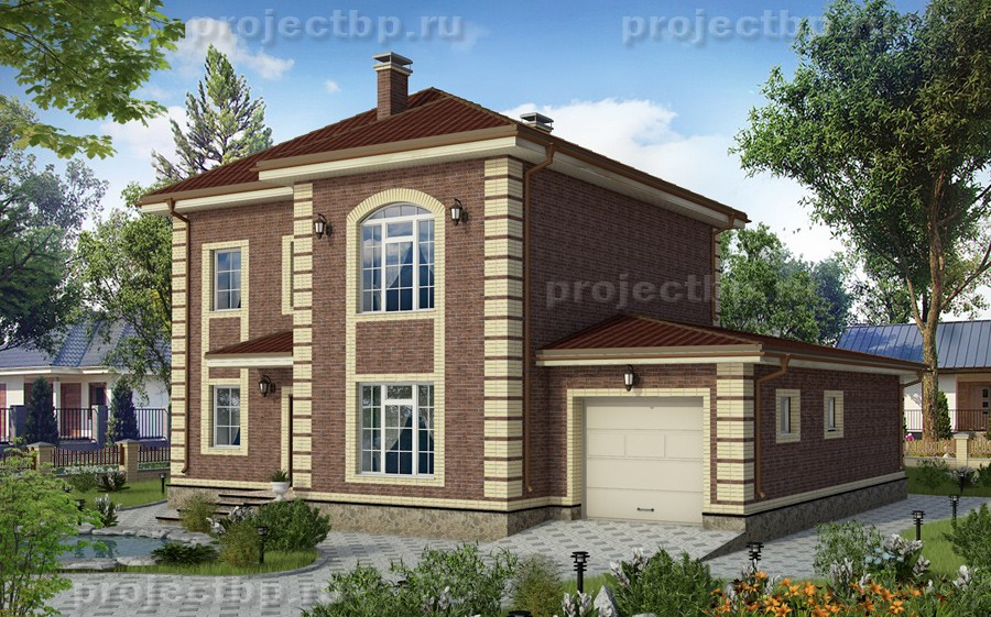 Проект дома в английском стиле с гаражом и террасой B-171