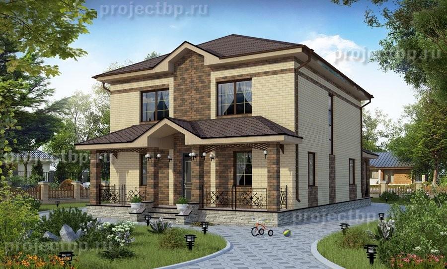 Проект двухэтажного дома с пятью жилыми комнатами и верандой B-192