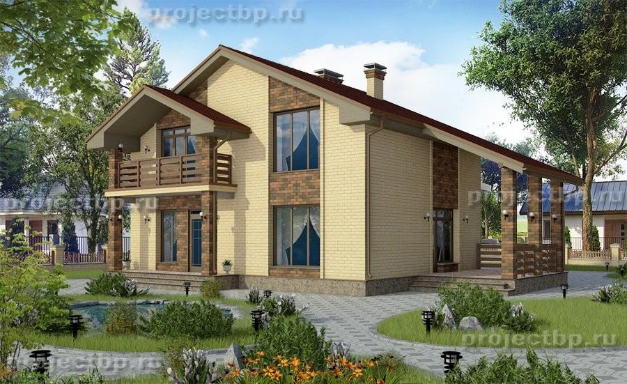 Проект дома в традиционном стиле из кирпича B-134