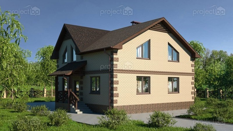 Проект двухэтажного дома с террасой и четырьмя спальнями C-149