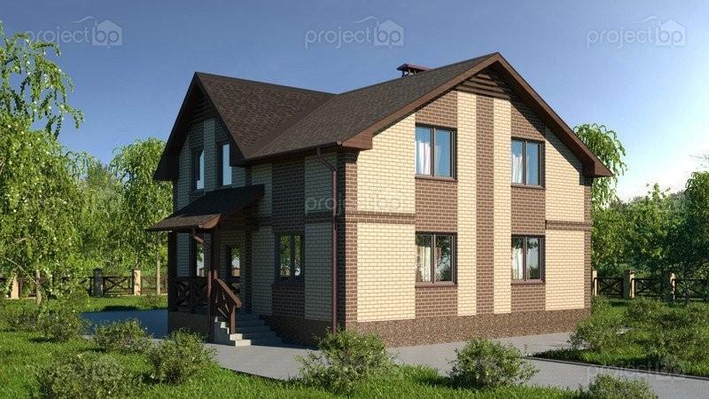 Проект двухэтажного дома в классическом стиле с верандой 149-C-2