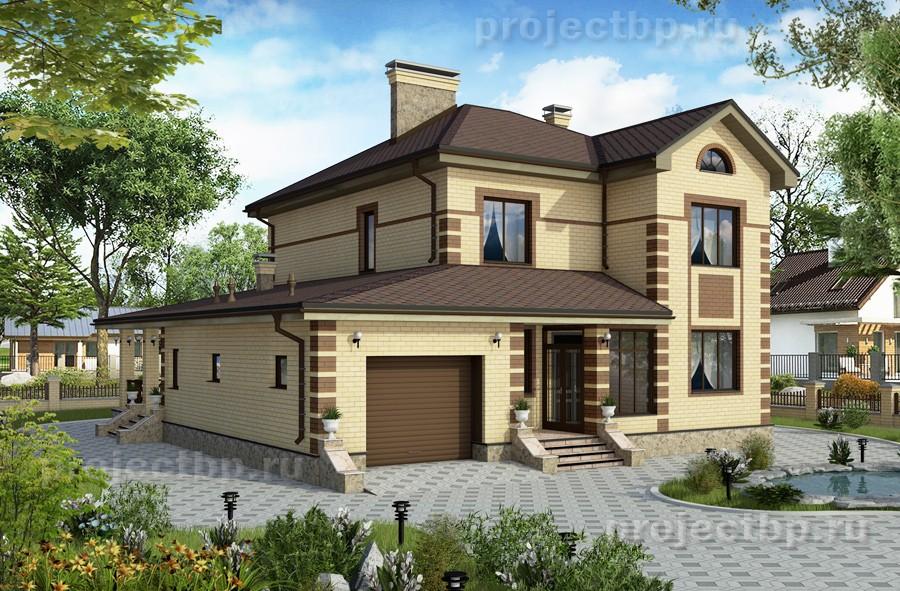 Проект двухэтажного дома с общей кухней-гостиной B-183