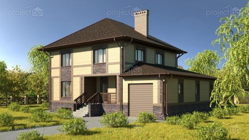 Проект двухэтажного дома с подвалом и большим гаражом C-275