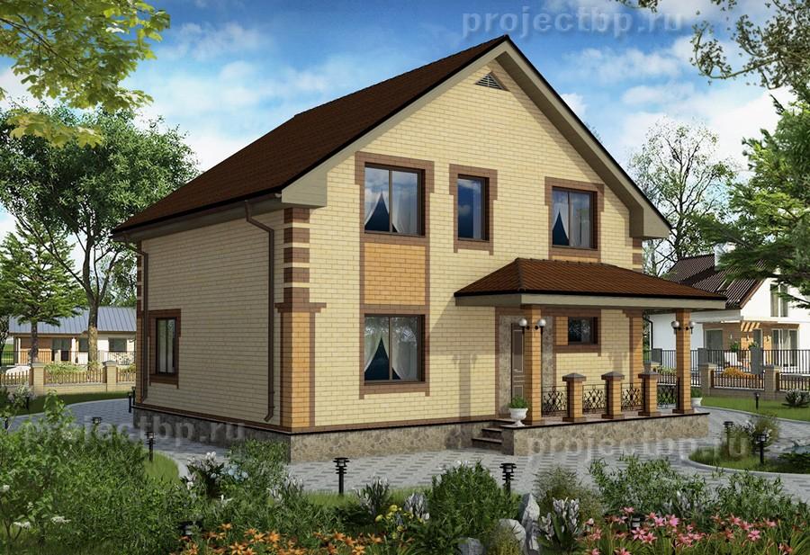 Проект одноэтажного дома с мансардой и красивым крыльцом 130-B