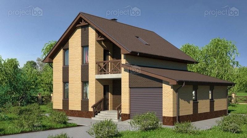 Проект компактного мансардного дома с гаражом 141-A