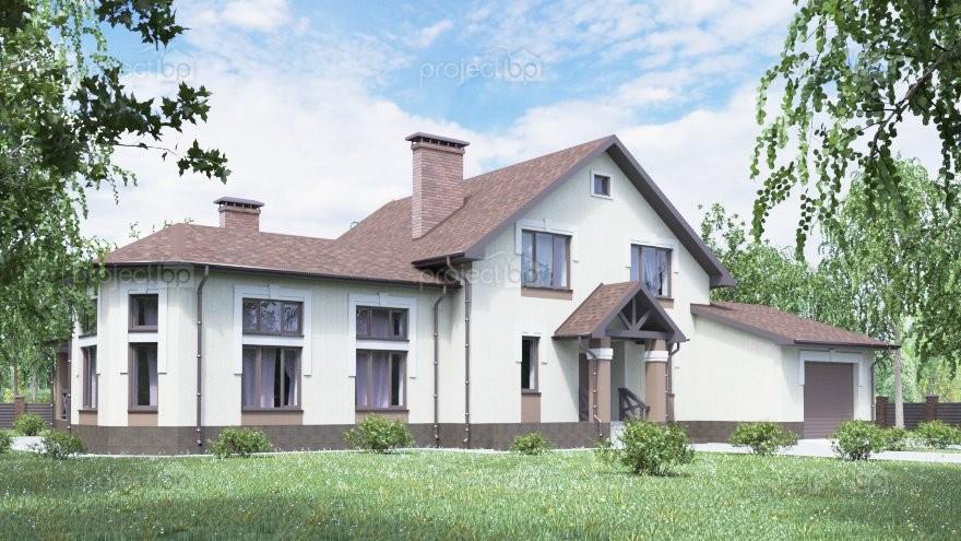 Проект большого дома с мансардой, гаражом и зоной барбекю A-307