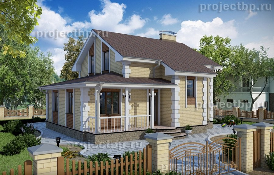 Проект дома с мансардой в классическом стиле B-112