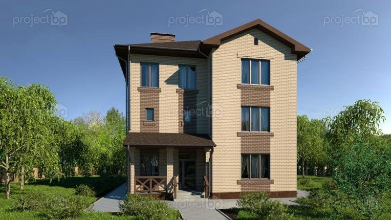 Проект трехэтажного дома в традиционном стиле 299-A