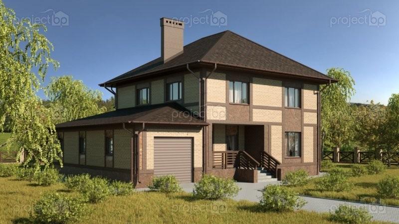 Проект двухэтажного дома с гаражом на две машины C-203