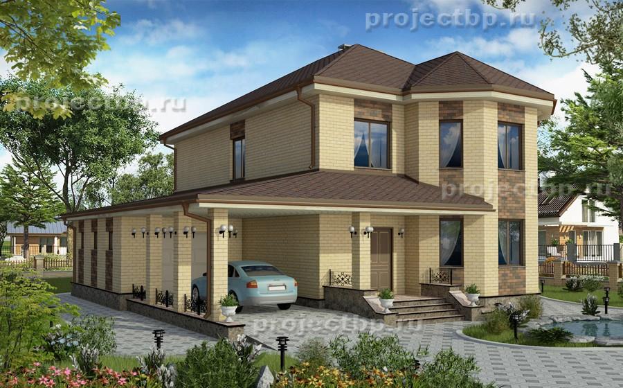 Проект двухэтажного дома с эркером, гаражом и навесом для автомобиля 195-B-1