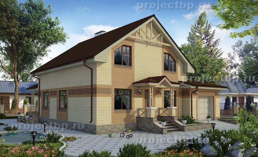 Проект дома c мансардой гаражом и террасой 173-B