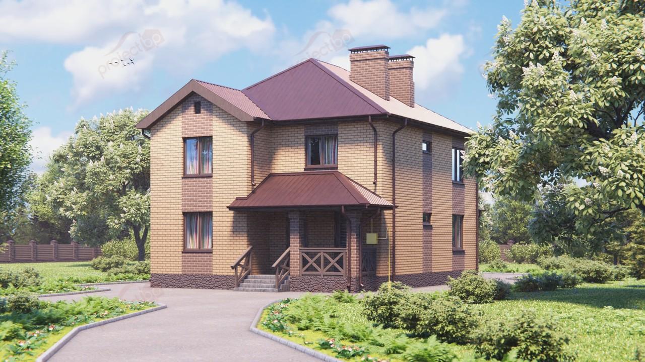Проект двухэтажного дома с вальмовой кровлей и верандой 144-A