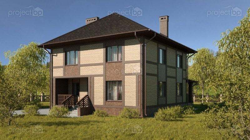 Проект двухэтажного дома с четырехскатной крышей C-157