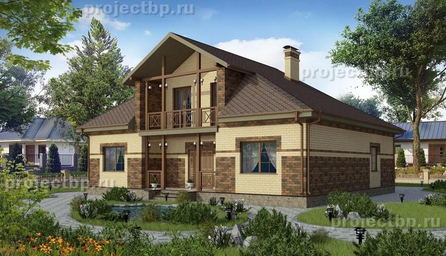 Проект одноэтажного дома с высокой мансардой, балконом и терраcой 168-B
