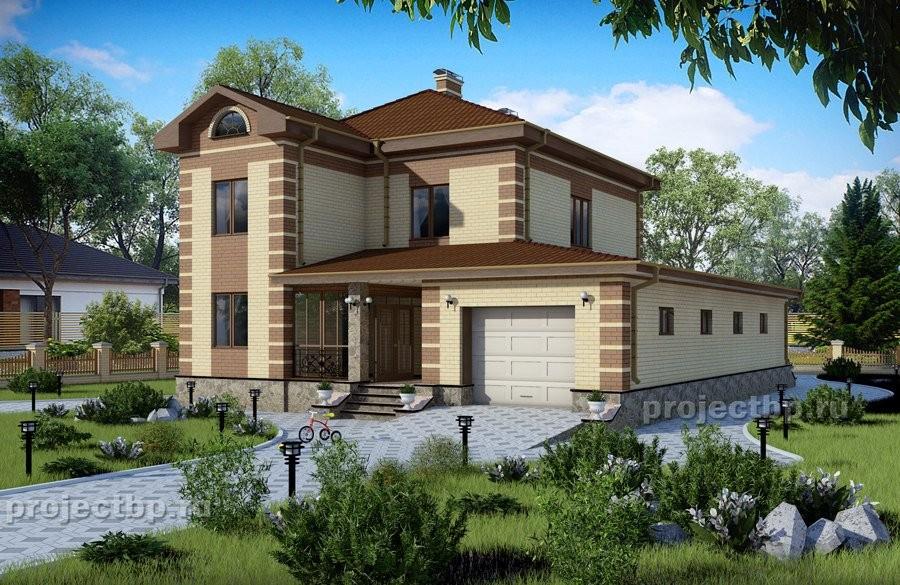 Проект красивого двухэтажного дома с гаражом на два автомобиля 224-B