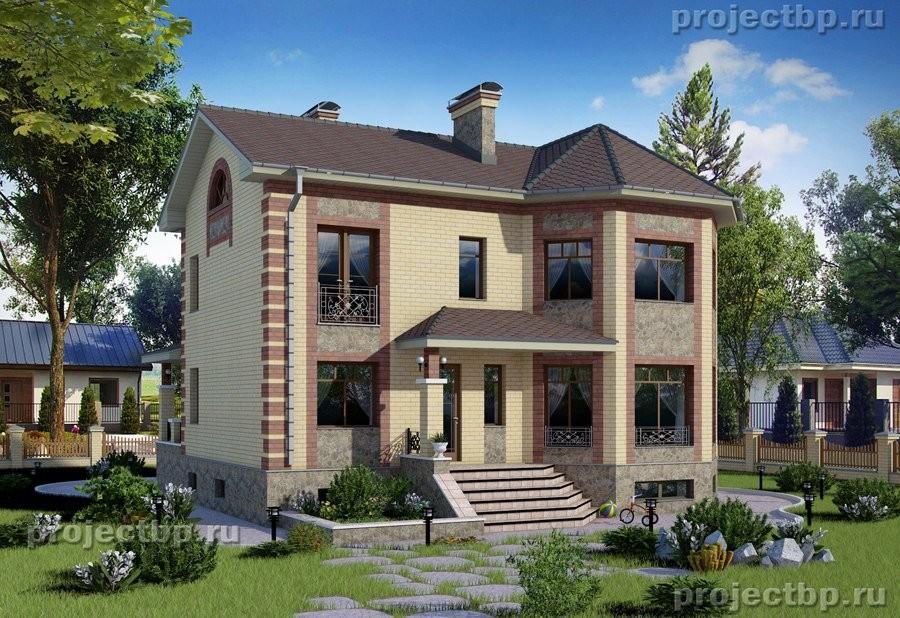 Проект двухэтажного дома с эркером в классическом стиле B-211