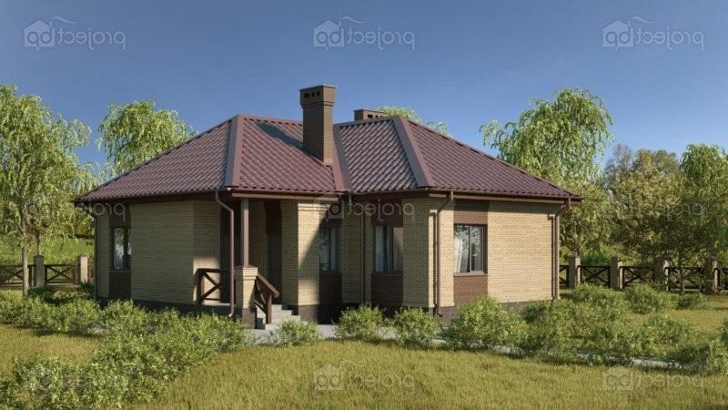 Проект одноэтажного дома Г-образной формы в плане 75-C-Z