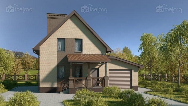 Проект дома с мансардными окнами и гаражом C-112-Z