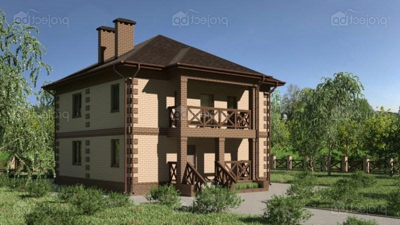 Проект дома c четырехскатной крышей, верандой и балконом 127-C-Z