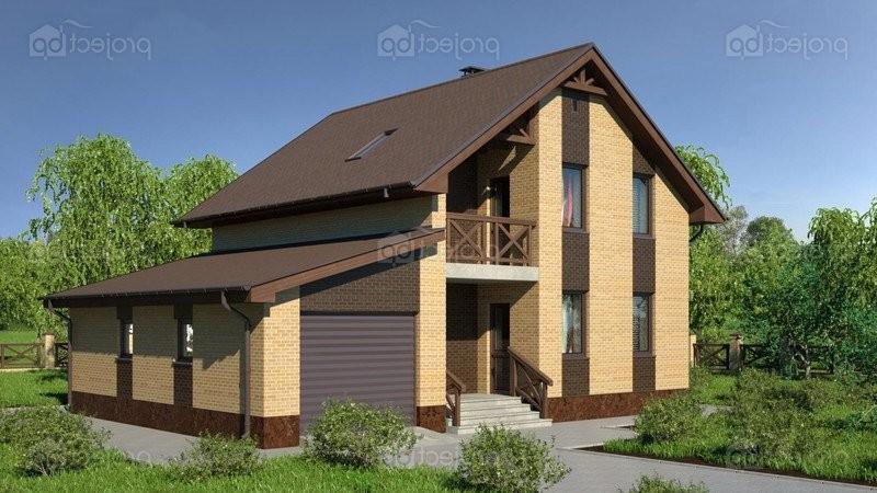 Проект дома с облицовочным кирпичом, с гаражом и мансардой 141-A-Z