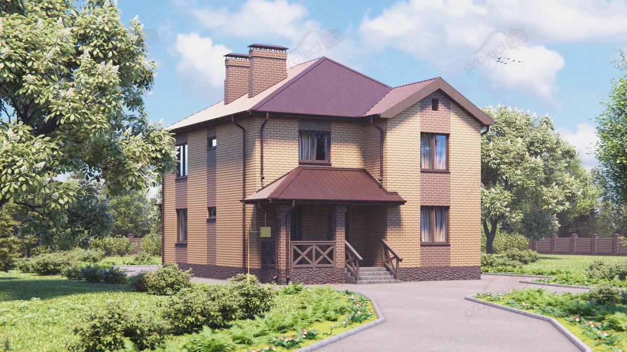 Проект двухэтажного дома с четырехскатной крышей и террасой 144-A-Z