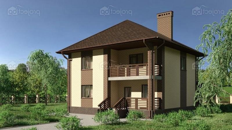 Проект двухэтажного дома с многоскатной крышей и балконом 148-C-Z