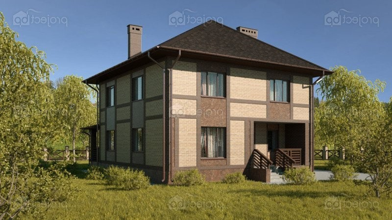 Проект двухэтажного дома с террасой вдоль дворового фасада 157-C-Z