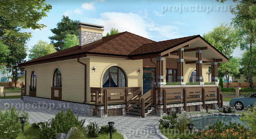 Проект одноэтажного дома 13x13 с террасой и тремя спальнями 125-B-Z
