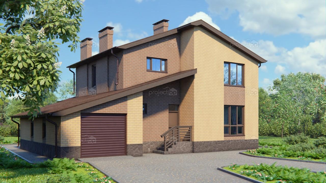 Проект современного двухэтажного дома с пологой крышей 190-A-Z