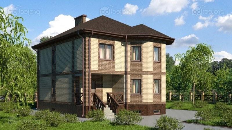 Проект дома из блоков с эркером и цокольным этажом 209-C-Z