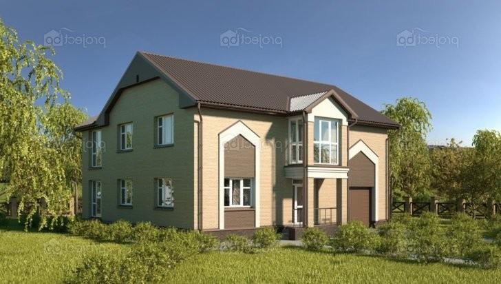 Проект двухэтажного дома с зимним садом, верандой и гаражом 212-A-Z