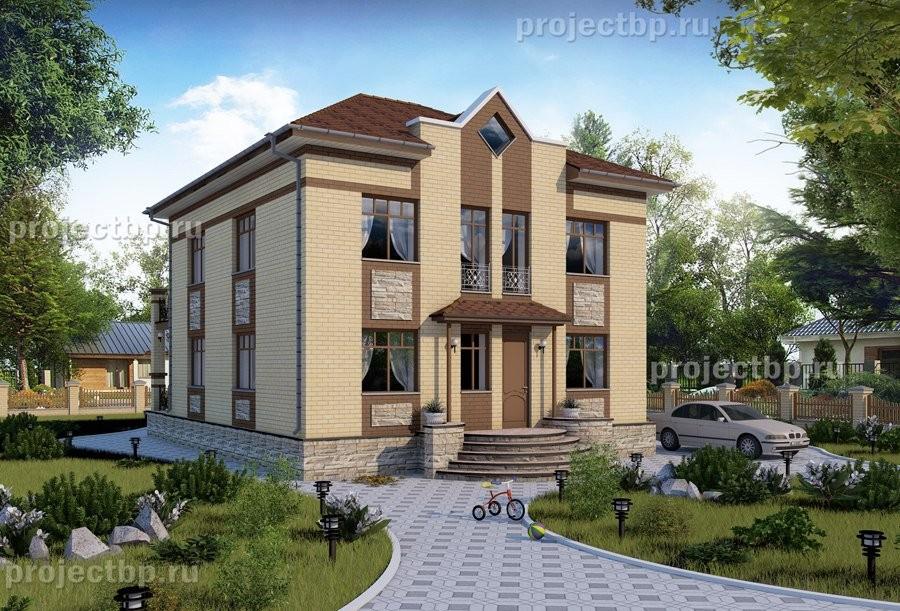 Проект двухэтажного дома 9x11 с террасой и балконом 160-B-Z