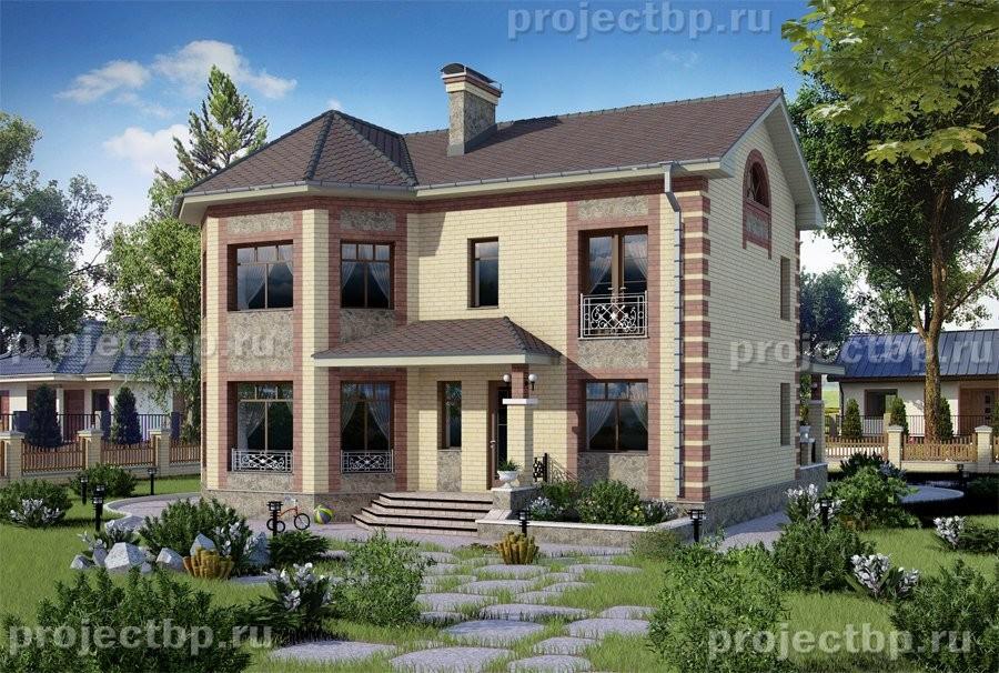 Проект двухэтажного дома 13x10 с эркером и объединённой кухней-гостиной 145-B-Z