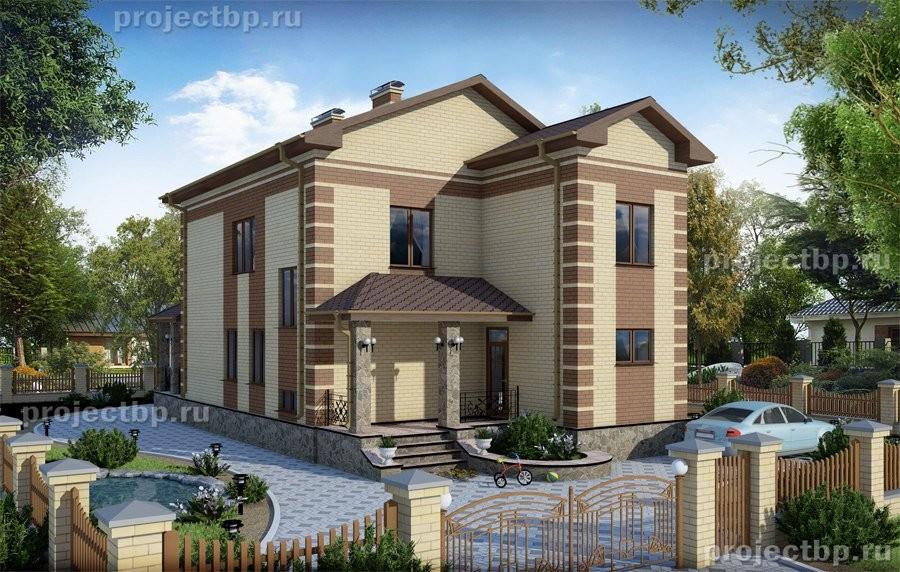 Проект дома с подвалом 9x15 из светлого кирпича 214-B-Z
