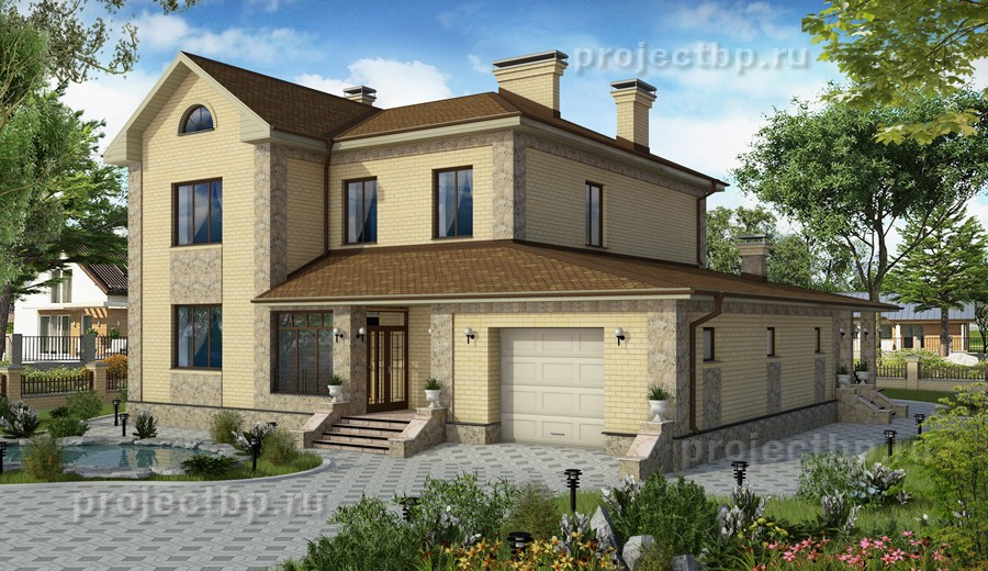 Проект дома из блоков 16x13 из светлого кирпича и камня 235-D-Z