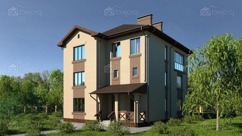 Проект трехэтажного дома из блоков с зимним садом 299-A-Z