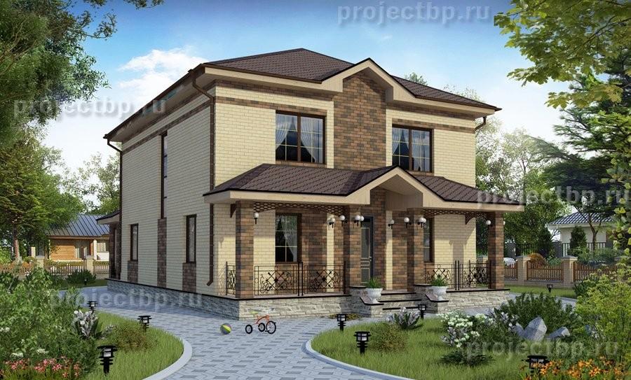 Проект двухэтажного дома с пятью жилыми комнатами и верандой 192-B-Z