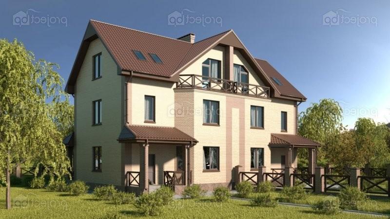 Проект двухэтажного дома дуплекса с мансардой 386-C-Z