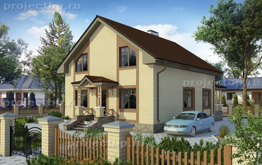 Проект дома c мансардой и облицовкой светлым кирпичом 139-D-Z