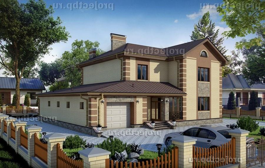 Проект двухэтажного дома 17x16 с гаражом на две машины 272-B-Z