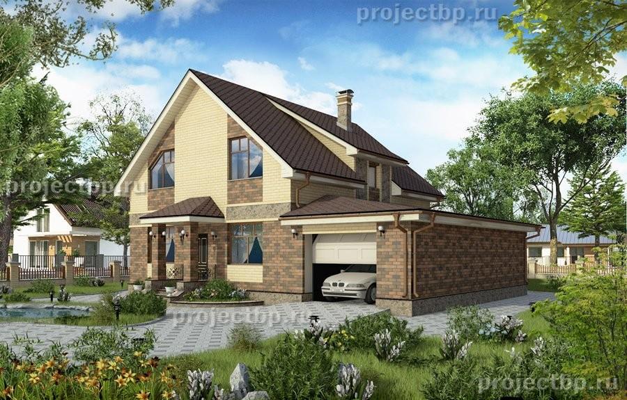Проект одноэтажного дома с мансардой и встроенным гаражом 190-B-Z