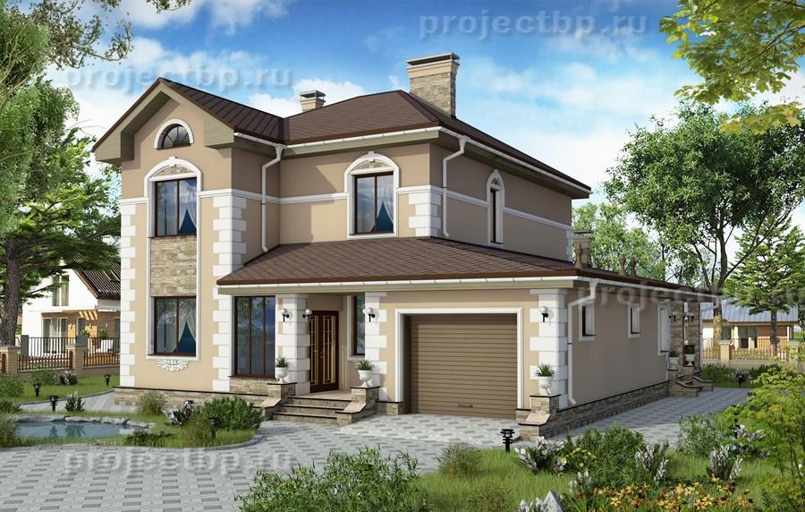 Проект дома из силикатного кирпича с отделкой штукатуркой 181-B-Z