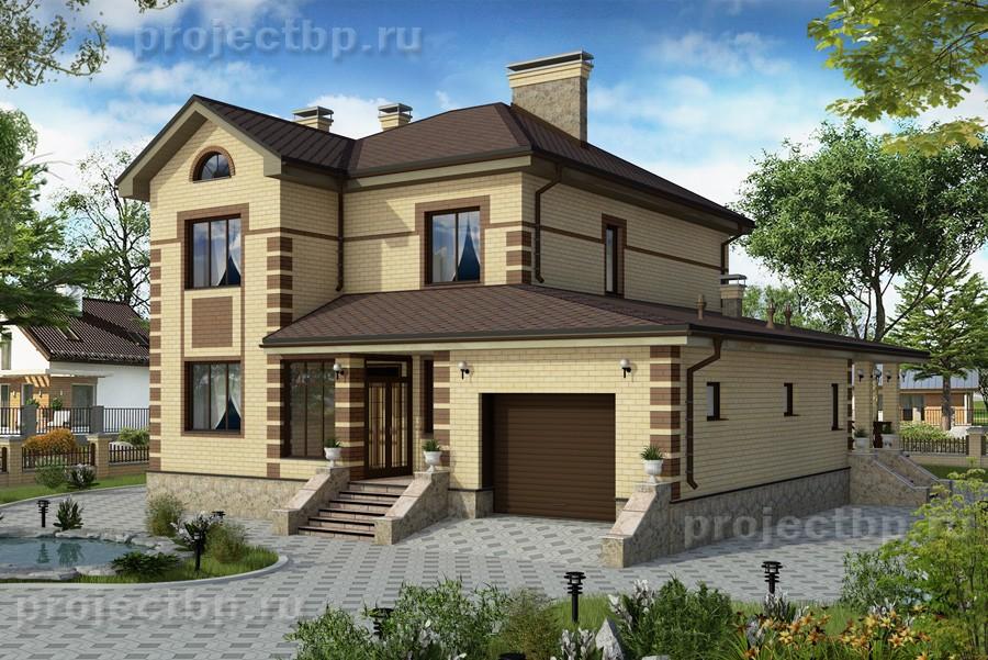 Проект дома с подвалом, гаражом и террасой с зоной барбекю 255-B-Z